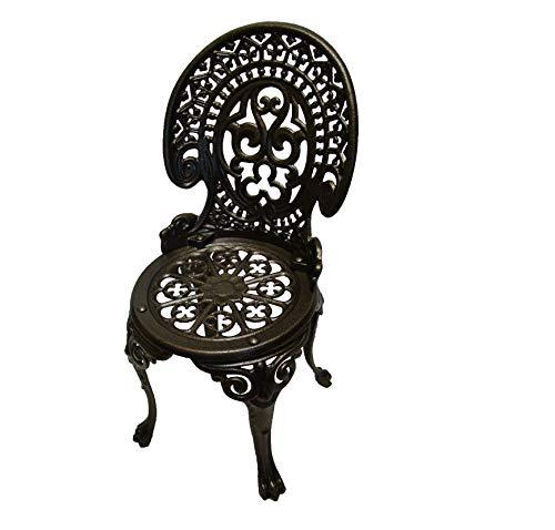 QLS Stuhl Gartenstuhl aus Gusseisen Balkonstuhl Retro Gartenmöbel Guss runder 85 cm