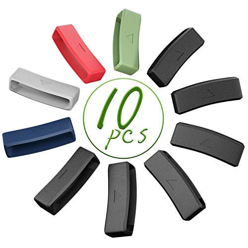 Keweni 10 Piezas de Anillo de Seguridad Compatible con Garmin Forerunner 220/230/235/620/630 Smartwatch Correas, Bucle de Silicona de Repuesto, Bucle de Cierre de Seguridad