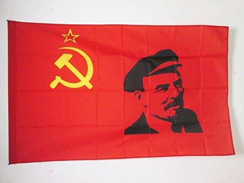 AZ FLAG Bandera de la URSS con Lenin 150x90cm para Palo - Bandera Comunista SOVIÉTICA 90 x 150 cm