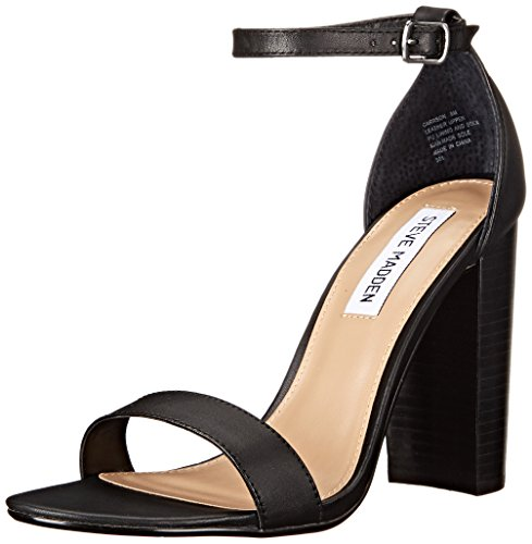 Steve Madden Women's Carrson Dress Sandal, Black Leather, 9.5 M US