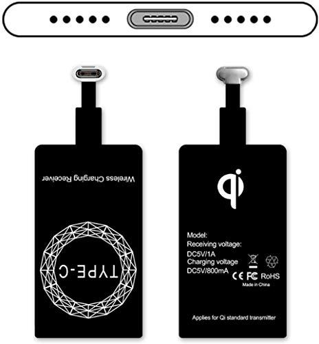 Qi Adapter - Receptor de Carga inalámbrico Tipo C, ultradelgado, USB-C Qi, Receptor de Cargador inalámbrico para Huawei P30/P20, LG V20, HTC 10 y más teléfonos con Qi