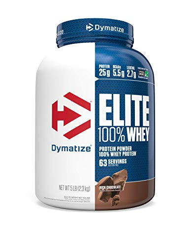 Dymatize Elite 100% Whey Protein Powder, Take Pre Workout or Post Workout, Quick Absorbing & Fast Digesting, Rich Chocolate, 5 Pound