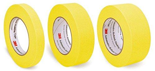 "Pack of 3M Automotive Refinish Yellow Masking Tape, 3/4"", 1.5"", 2"""