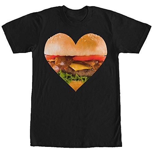 LOST GODS Men's Bacon Cheeseburger Heart Black T-Shirt
