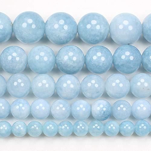 PINGGUO Cuentas redondas de aguamarina azul de 6 a 14 mm, 15 pulgadas