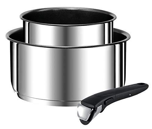 Tefal – L9408702 – Ingenio Preference Set mit 2 Stieltöpfen 16 / 20 cm Edelstahl mit abnehmbarem Griff, für alle Herdarten geeignet, auch Induktion