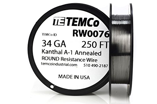 TEMCo Kanthal A1 wire 34 Gauge 250 Ft Resistance AWG A-1 ga