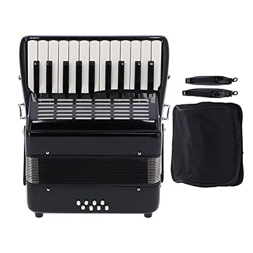 Acordeón de 22 teclas Ajustable Profesional Negro 8 Bajos Instrumento musical Madera maciza Ingeniería ABS Metal con bolsa de acordeón