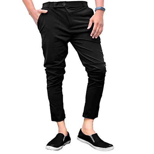Ezee Sleeves Men's Casual Lycra Pants Stretchable Less Weight Lycra Pants for Men (34, Black)