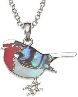 Diseño De Unicornio Rosa Abalone Paua Concha Collar De Rodio Plateado