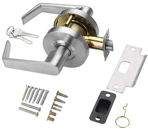 Heavy Duty Commercial Cylindrical Lever Door Lock (Storeroom Function, Satin Chrome, 26D) Non-Handed, Grade 2 Industrial Door Handle - UL 3 Hour Fire Rated & ADA Compliant