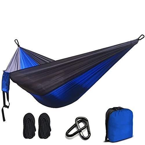 GZSC Hamac Ultra-Léger en Nylon Parachute Hamac Camping Survie Jardin Chasse Loisirs Voyage Double Personne (Color : Blue and Dark Grey)