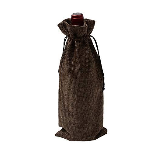 ChenTeShangMao Geschenktüte - 5 Bündel Wäsche Wein Taschen, Wein Rotwein Taschen, Champagnerflasche Sets, 15 * 35cm Gute Qualität (Color : Brown)