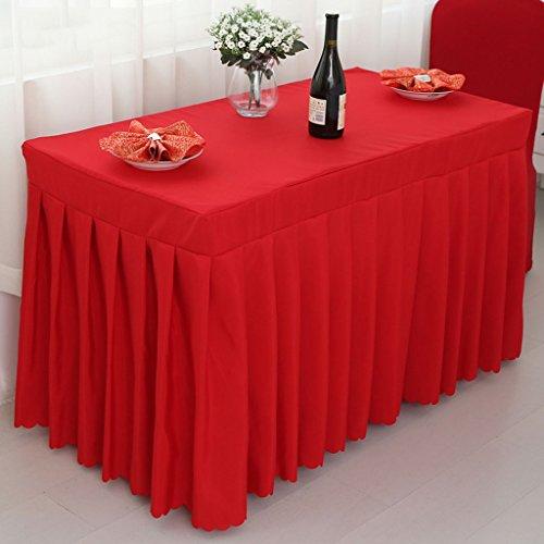Nappes Ensemble de banquet de mariage en coton à la jupe de table avec toison supérieure ( Couleur : Rouge , taille : 50*100*75CM )