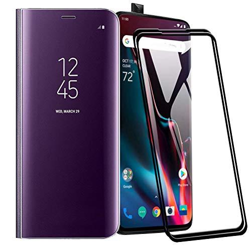 XIFAN Funda para Huawei P Smart Z, Elegante Espejo Brillante Standing Flip Funda, Modelo Inteligente Fecha Brillante del Caso Duro para Huawei P Smart Z, Azul Violeta + 2 Piezas Protector de Pantalla