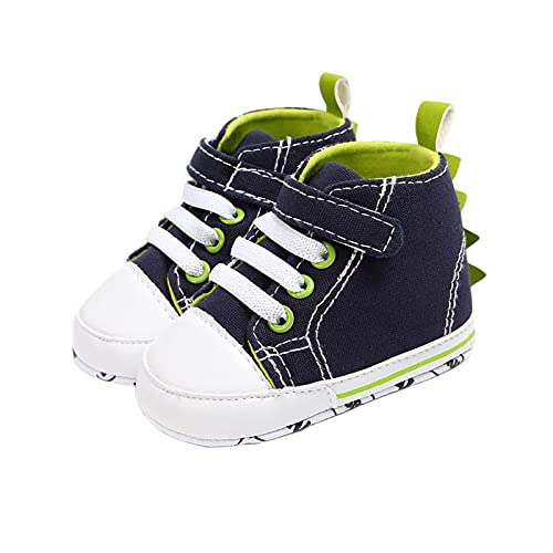 FURONGWANG6777BB Baby Boy Girl High Top Sneakers Infant Soft Sole Hook Anti-Slip Loop Dinosaur First Walker Shoes (Color : Blue, Size : 7-12 Months)