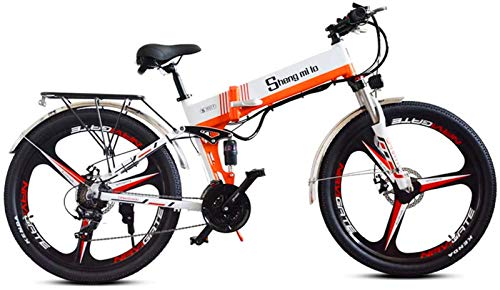 Bicicleta eléctrica de nieve, Montaña profesional Bicicleta eléctrica, suspensión Bicicleta eléctrica 350W Ebike 48V Regeneración de energía, asiento ajustable, bicicleta plegable portátil, modo de cr