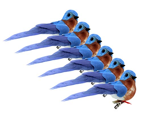 Cornucopia Imitation Bluebirds (6-Pack); Little Blue Birds for Crafts, Christmas Trees and Seasonal Displays and Wreaths