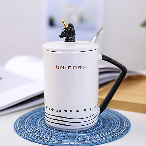 SGZBY Taza De Dibujo Unicornio Dorado Creativo Taza De Cerámica Mate con Tapa Cuchara Taza De Café Taza De Oficina