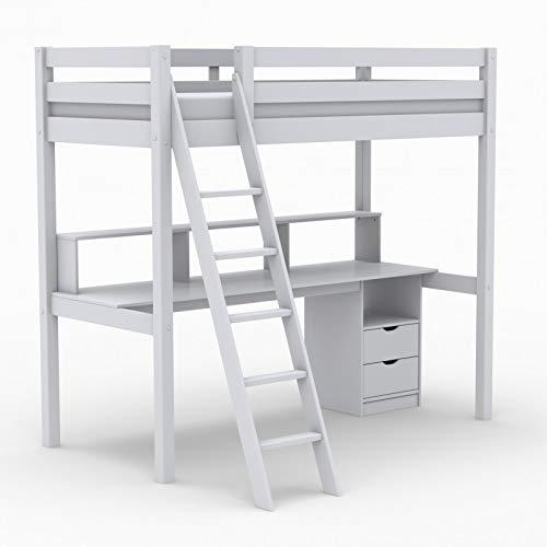 Alfred & Cie – Cama Mezzanine escritorio y estanterías 90 x 200 Léopold