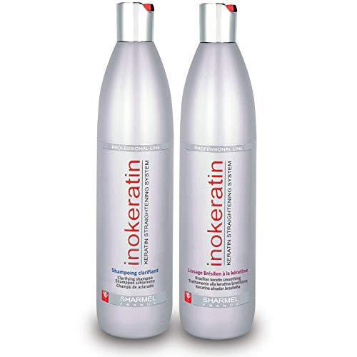 Set zur Brasilianischen Haarglättung Inokeratin -500mL - mit Keratin und Arganöl - Ohne Formaldehyd (Set zu Haarglättung 2x500mL)