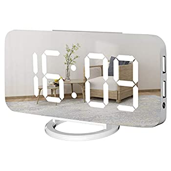 WulaWindy Digital Alarm Clock Large Mirrored LED Display with USB Charger Snooze Function Dim Mode Wall Hanging Beside Desk Clock for Bedroom  White