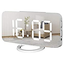 WulaWindy Digital Alarm Clock, Large Mirrored LED Display, with USB Charger, Snooze Function Dim Mode Wall Hanging Beside Desk Clock for Bedroom (White)