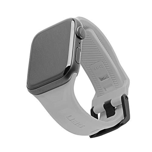 Urban Armor Gear Scout Armband für Apple Watch 42mm / 44mm [Watch SE, Series 6 / Series 5 / Series 4 / Series 3 / Series 2 / Series 1, Weiches Silikon Ersatzband, Edelstahl Verschluss] Silber
