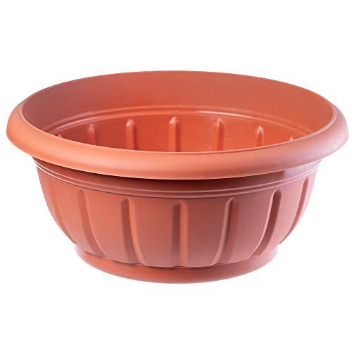 KADAX Macetero redondo, de plástico, resistente a la intemperie, para exteriores, flores, plantas,...