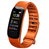 AUBEINSON Fitness Tracker with Oxygen Monitor,Activity Tracker Watch with Body Temperature Blood Pressure Heart Rate Monitor,Smart Watch with Steps Watch, Pedometer Watch for Kids Women Men (Orange)