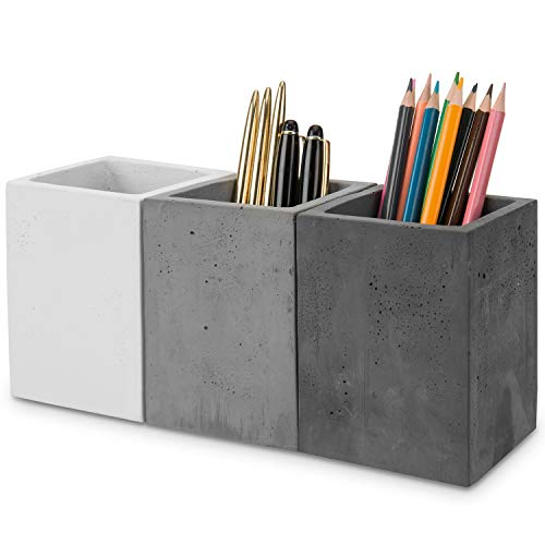 MyGift Modern Mixed Color Gray Concrete Pen and Pencil Cups, Office Stationary Organizers, Set of 3
