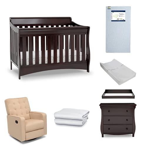 Serta Barrett 7-Piece Nursery Furniture Set - Convertible Crib, Dresser, Changing Top, Changing Pad, Crib Mattress, Glider, Crib Sheets - Dark Chocolate