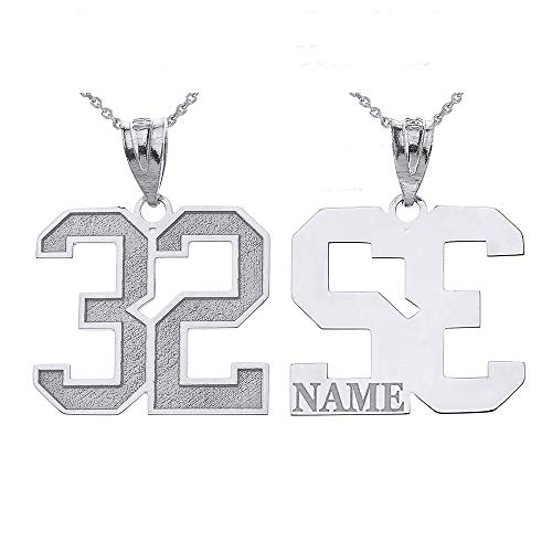 Personalized Your Lucky Number and Name Sports Jersey Silver Pendant Necklace, 16""