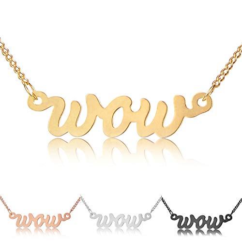 modabilé Halskette Damen Ketten-Anhänger Wow Gold 925 Sterling Silber (42-47cm I 1,2mm breit) I 925er Silberkette Vergoldet mit Buchstaben-Anhänger für Frauen mit Etui I Produziert in Deutschland
