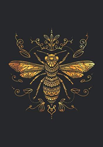 Notizbuch A5 kariert mit Softcover Design: Bienen Mandala Tribal Tattoo: 120 karierte DIN A5 Seiten