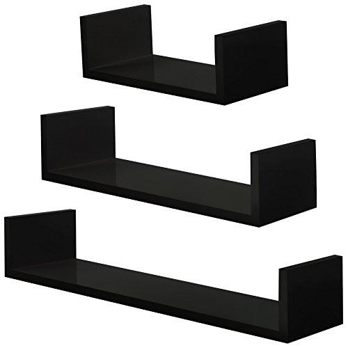 TecTake 800702 Set de 3 Estanterías Retro, Ideal para Libros CDs Decoración, Incl. Material de Montaje (Negro | No. 403178)