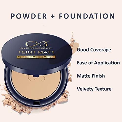 CVB C02 2 in 1 Teint Matt Foundation Pressed Compact Powder for Buildable Full Coverage & Matte Finish (03 Natural Beige, 10g)