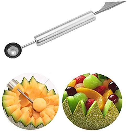 KDBWYC Cuchara de Cuchara de melón de Acero Inoxidable Cuchara y Cuchillo para tallar Frutas Cuchara de Helado Cuchara de Doble Uso Herramientas de Cocina