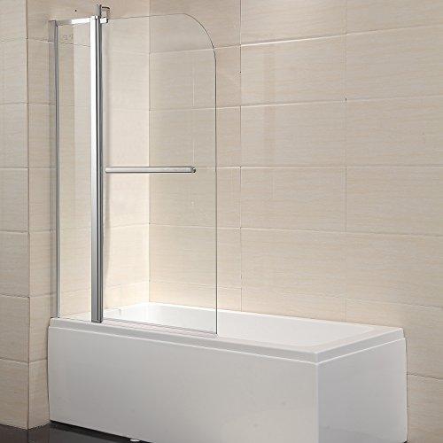 Mecor Shower Door Hinged Frameless 1/4' Clear Glass Bathtub Door Chrome Finish (55'X39')
