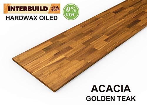 Interbuild Encimeras de Cocina de Madera Maciza de Acacia, 2200x635x26 mm, Teca Dorada, 1...