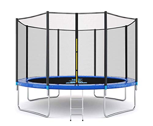 SENCHO GINSYTALIOR Outdoor Activity 12/16FT Round Trampoline with Safety Enclosure Net &Ladder,...
