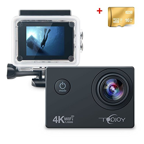 Topjoy Sport Action Camera TJ5000 4K 16MP Sott'acqua Action Camera con NTK96660 Chipset Sensore Sony IMX078 Gyro WiFi HDMI e AV Out Action Cam per Apnea Bike Sci