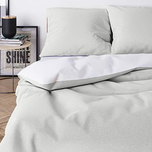 Wolkenfeld Bettwäsche 155x220 grau weiß - kuschelig weich & bügelfrei - 2teilig - Bettbezug + Kissenbezug 80x80