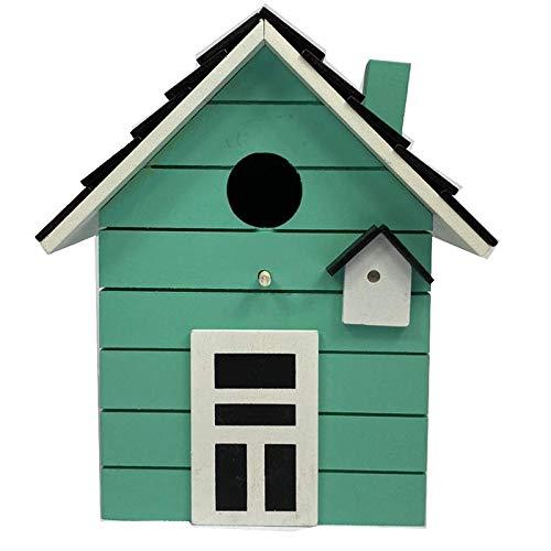 CasaJame Holz Vogelhaus für Balkon und Garten, Nistkasten, Mint, Haus für Vögel, Vogelhäuschen, 20 x 17 x 12cm