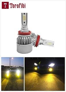 Torofibi H8 H9 H11 Yellow Amber Color 3000K 7600Lumen COB Chips LED Headlight Bulbs Conversion Kit For High/Low Beam Daytime Running Lights (Pack of 2)