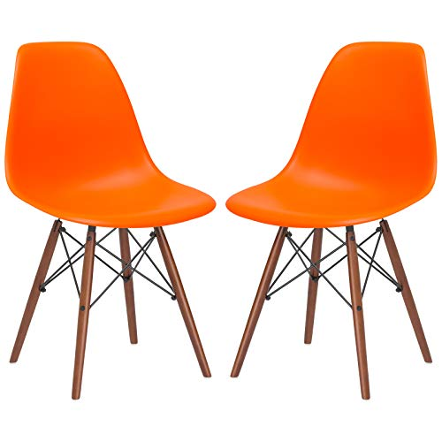 Poly and Bark Vortex Modern MidCentury Side Chair with Wooden Walnut Legs for Kitchen Living Room and Dining Room Orange Set of 2