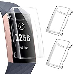 powerful KIMILAR screen protector Soft Slim Ultra compatible with Fitbit Charge 4 / Charge 3, 2 packs …