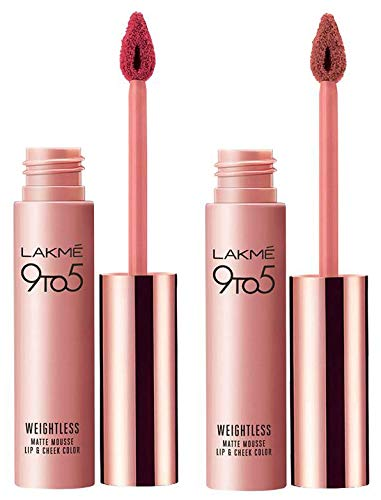 Lakmé 9 to 5 Weightless Mousse Lip and Cheek Color,...