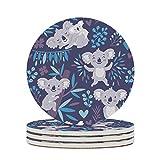 KittyliNO5 Posavasos redondos Koala Mama Baby de cerámica, juego de 4 o 6 posavasos de porcelana con base de corcho para vasos, color blanco, 4 unidades