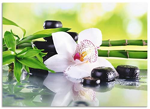 Artland Spritzschutz Küche aus Alu für Herd Spüle 50x70 cm Küchenrückwand mit Motiv Natur Zen Pflanze Spa Steine Bambus Asien Orchidee T9IQ